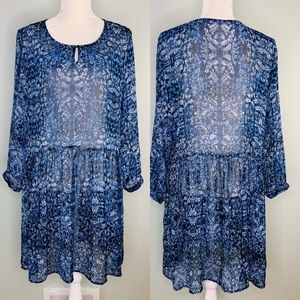 Two by Vince Camuto Dress Large Sheer Blue White